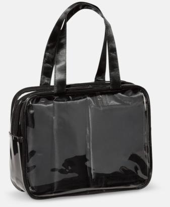 Svart 3 necessärer med väska - med reklamtryck