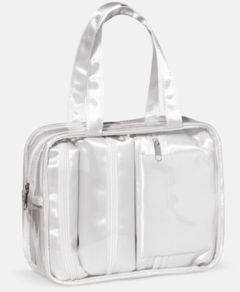 Vit 3 necessärer med väska - med reklamtryck