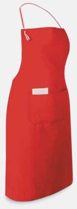 Röd Långa förkläden med framficka - med reklamtryck