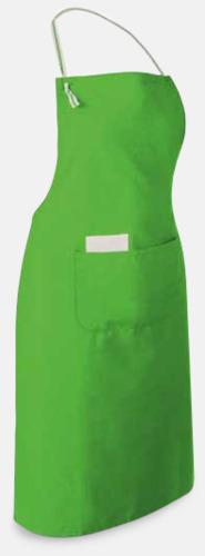Limegrön Långa förkläden med framficka - med reklamtryck