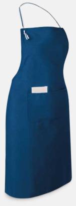 Blå Långa förkläden med framficka - med reklamtryck