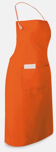 Orange Långa förkläden med framficka - med reklamtryck