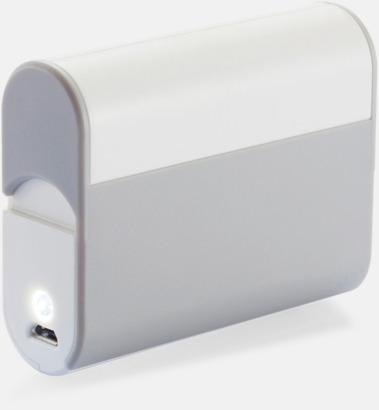 Vit / Grå Powerbank med mobilställ med reklamtryck