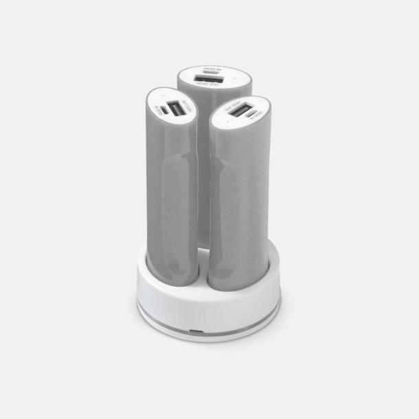 Silver / Vit 3 powerbanks i set med reklamtryck