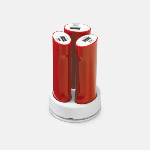 Röd / Vit 3 powerbanks i set med reklamtryck