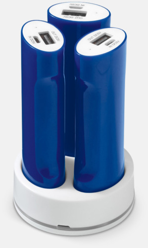 Blå / Vit 3 powerbanks i set med reklamtryck