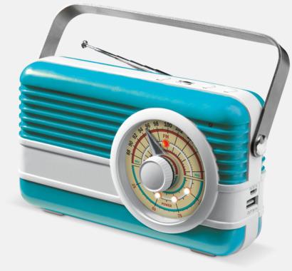 Ljusblå / Vit Retro högtalare med reklamtryck