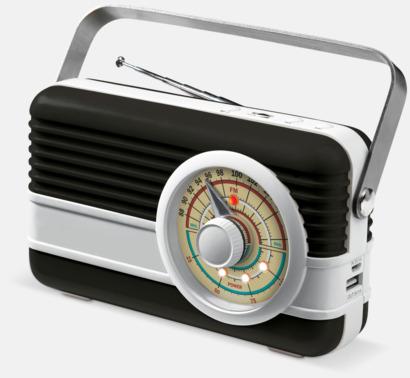Svart / Vit Retro högtalare med reklamtryck
