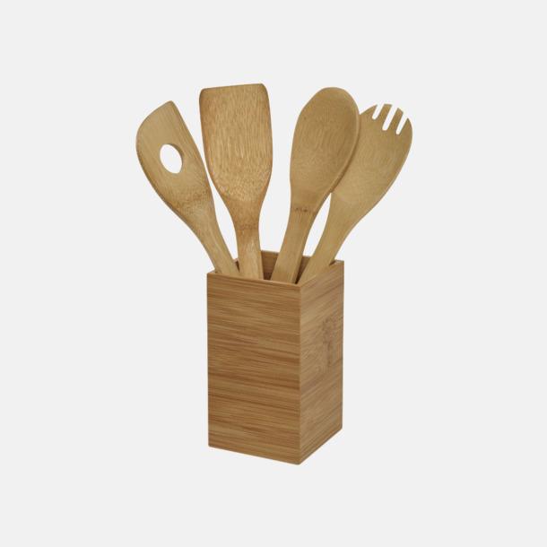 Trä Set med köksredskap i trä med reklamtryck