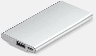 Silver Powerbank med klips med reklamtryck