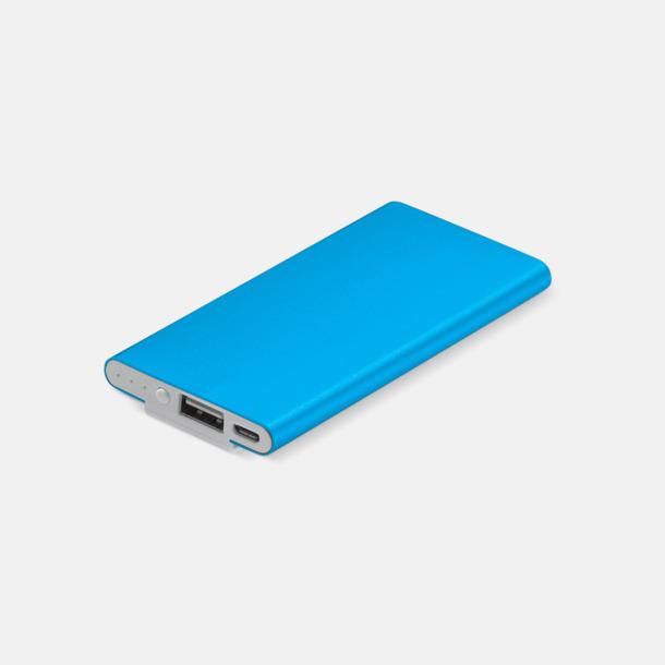 Ljusblå Powerbank med klips med reklamtryck