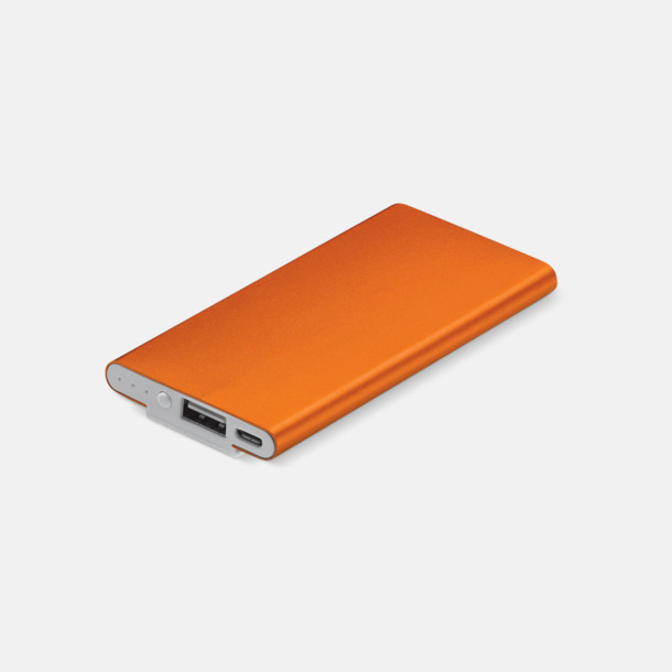 Orange Powerbank med klips med reklamtryck