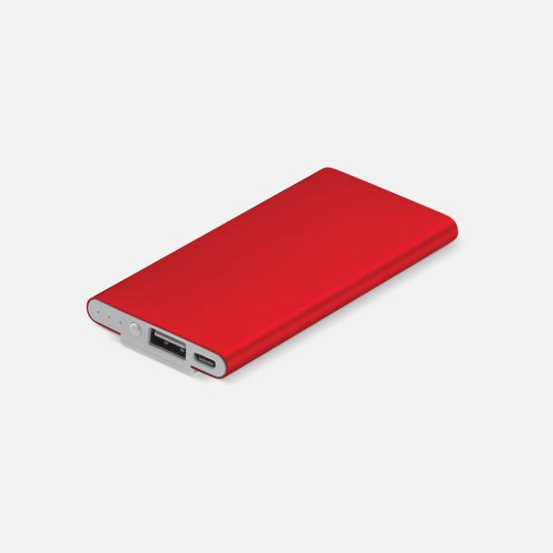Röd Powerbank med klips med reklamtryck