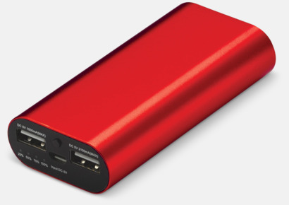 Röd Powerbanker med dubbla uttag med reklamtryck