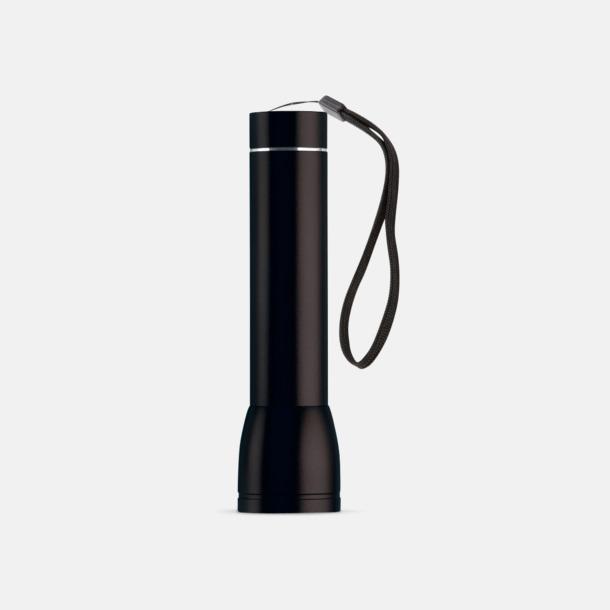 Svart Ficklampa med powerbank med reklamtryck