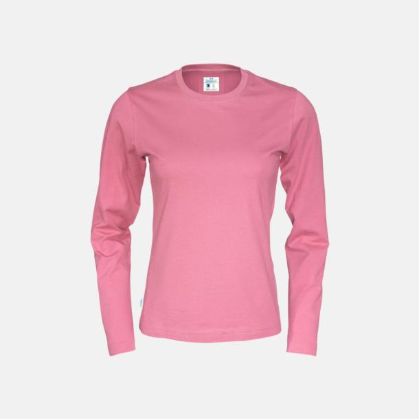 Rosa (dam) Långärmade eko t-shirts med reklamtryck