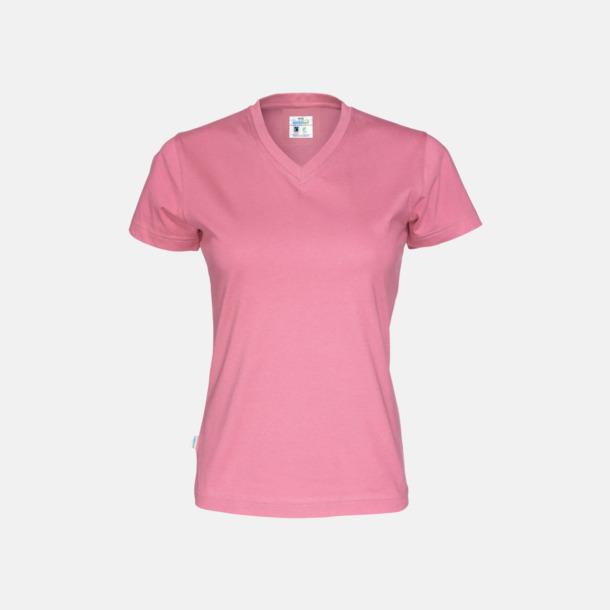 Rosa (dam) Svanen- & Fairtrade-certifierade v-ringade t-shirts med reklamtryck
