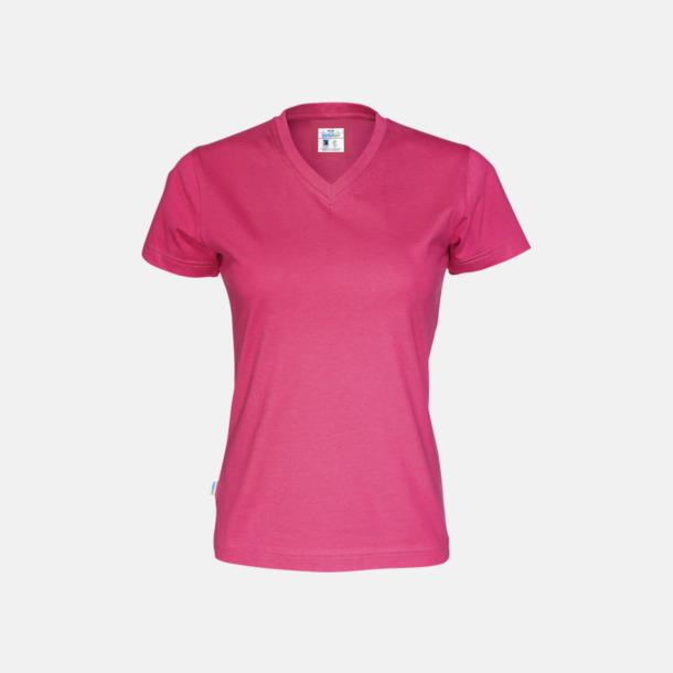 Cerise (dam) Svanen- & Fairtrade-certifierade v-ringade t-shirts med reklamtryck