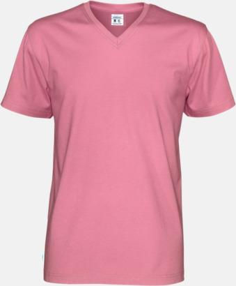 Rosa (herr) Svanen- & Fairtrade-certifierade v-ringade t-shirts med reklamtryck