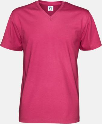 Cerise (herr) Svanen- & Fairtrade-certifierade v-ringade t-shirts med reklamtryck