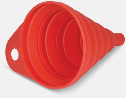 Röd Vikbara trattar i fodral med reklamtryck