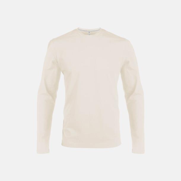 Light Sand (crewneck, herr) Långärmad t-tröja med rundhals för herr och dam med reklamtryck