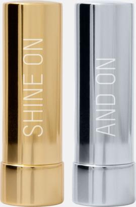 Bright Gold, Bright Silver Eleganta lypsyl i metallfodral med graverad reklamlogga