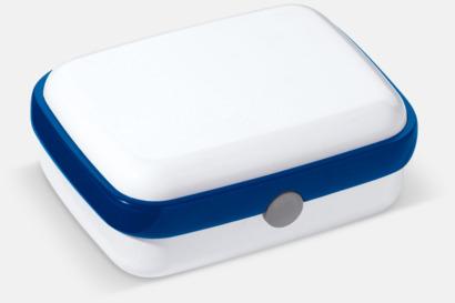 Vit/Blå Vita lunchlådor med reklamtryck