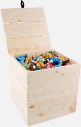 Pralinkulor 2500 gram Inslaget godis i trälådor med reklamlogo