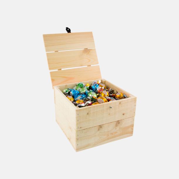 Pralinkulor 1500 gram Inslaget godis i trälådor med reklamlogo