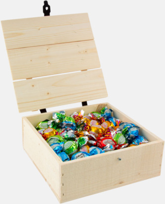 Pralinkulor 800 gram Inslaget godis i trälådor med reklamlogo