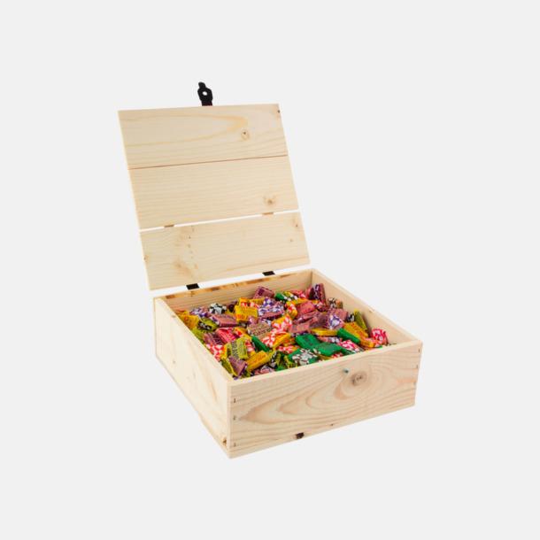 BRAVO kolor 1300 gram Inslaget godis i trälådor med reklamlogo