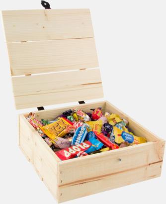 Inslaget godis 800 gram Inslaget godis i trälådor med reklamlogo