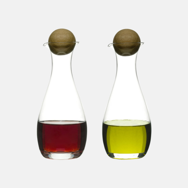 Transparent/Trä Set med ojla- & vinägerflaskor med reklamtryck