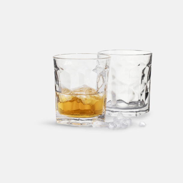 Transparent 2-pack whiskyglas från Sagaform med reklamtryck