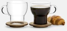 2-pack glasmuggar med ekunderlägg från Sagaform med reklamtryck