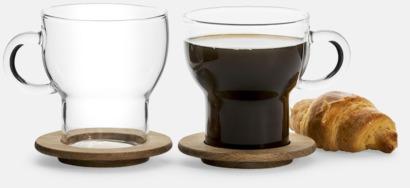 Transparent/Trä 2-pack glasmuggar med ekunderlägg från Sagaform med reklamtryck