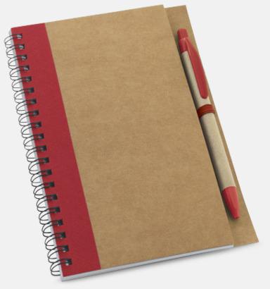Natur / Röd Eko spiralblock med penna - med reklamtryck