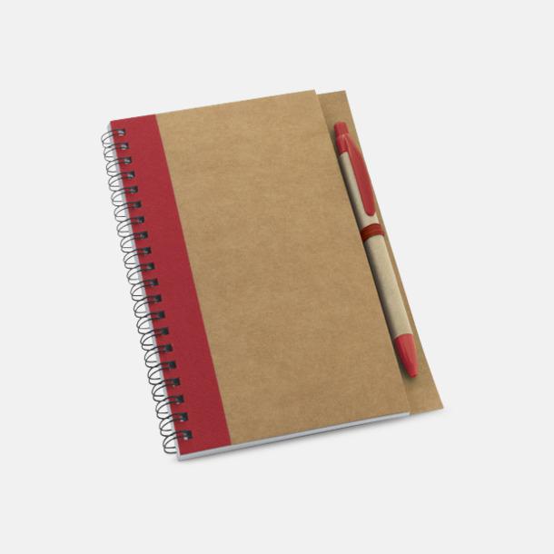 Natur/Röd Eko B6-spiralblock med penna - med reklamtryck