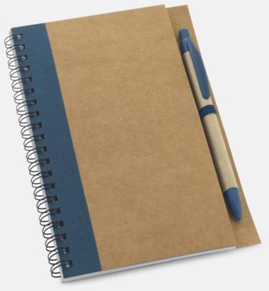 Natur / Blå Eko spiralblock med penna - med reklamtryck