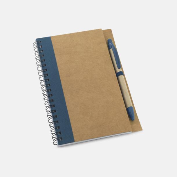 Natur/Mörkblå Eko B6-spiralblock med penna - med reklamtryck