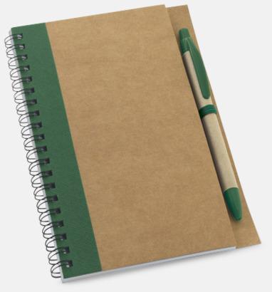 Natur / Grön Eko spiralblock med penna - med reklamtryck