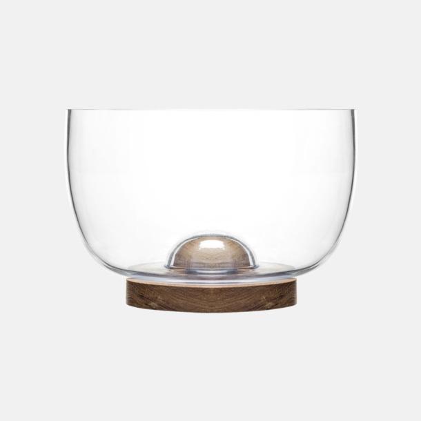 Transparent/Trä Glasskålar i 2 storlekar med reklamtryck