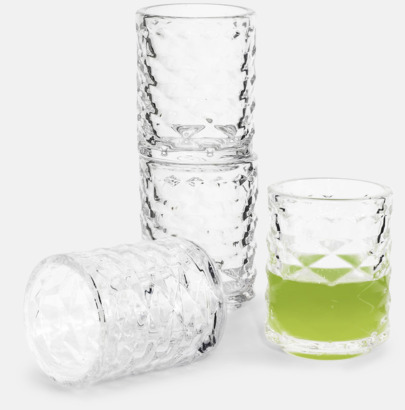 Transparent 4-pack shotglas från Sagaform med reklamtryck