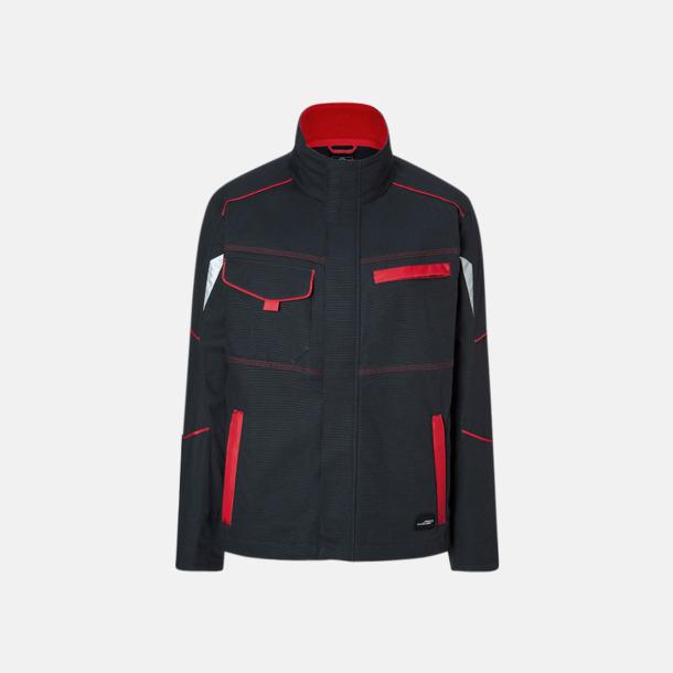 Carbon/Röd Arbetsjackor i många storlekar med reklamtryck