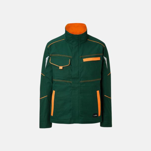 Mörkgrön / Orange Arbetsjackor i många storlekar med reklamtryck