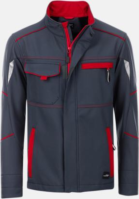 Carbon/Röd Arbets softshell-jackor med reklamtryck