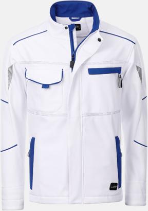 Vit/Royal Arbets softshell-jackor med reklamtryck