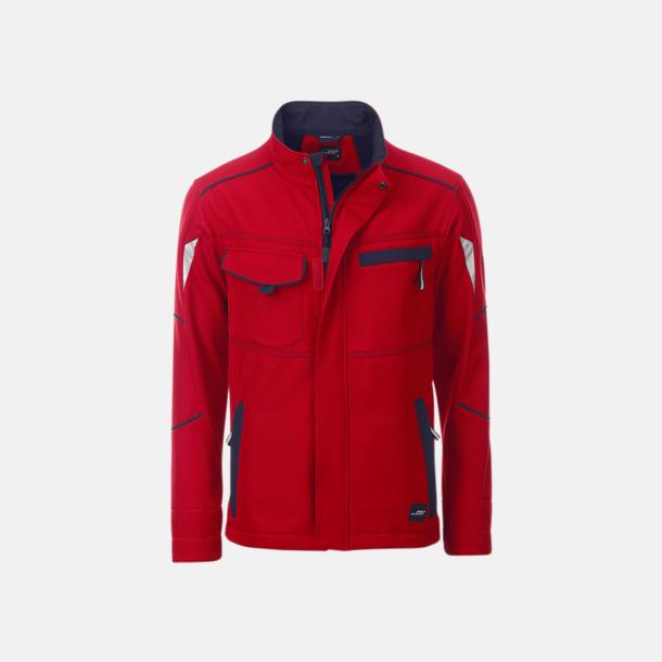 Röd / Marinblå Arbets softshell-jackor med reklamtryck