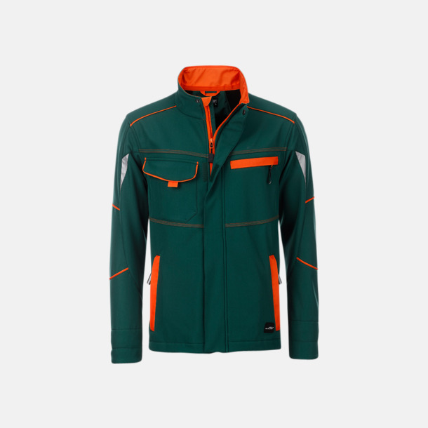 Mörkgrön / Orange Arbets softshell-jackor med reklamtryck